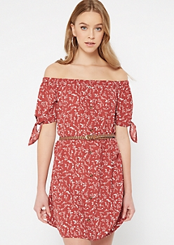 Red Floral Print Off The Shoulder Faux Button Dress