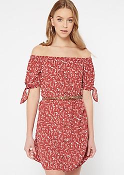 Red Floral Print Off The Shoulder Faux Button Dress