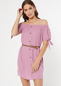 Magenta Off The Shoulder Faux Button Dress