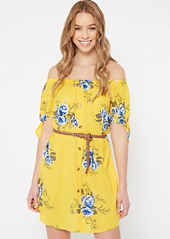 Yellow Floral Print Off The Shoulder Faux Button Dress