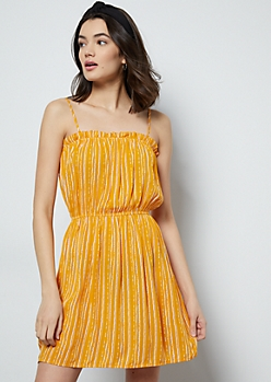 Yellow Border Striped Ruffled Mini Dress