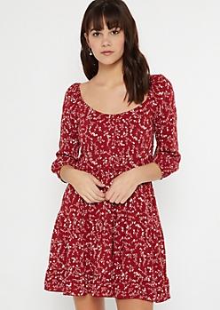 Red Floral Print Smocked Swing Dress