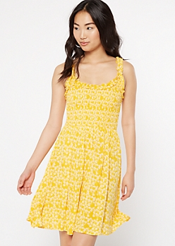 Yellow Floral Print Ruffle Smock Dress
