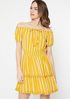 Mustard Striped Off The Shoulder Ruffle Dress