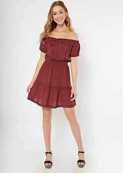 Dark Red Off The Shoulder Ruffle Dress