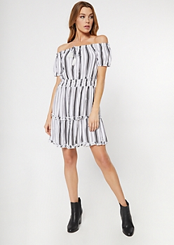 White Striped Off The Shoulder Ruffle Dress