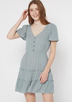 Dusty Mint Flutter Sleeve Faux Button Ruffle Dress