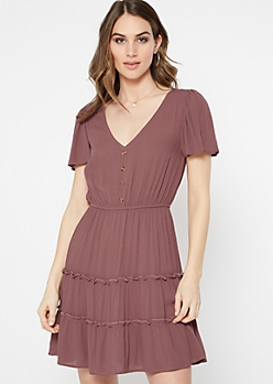 Dusty Mauve Flutter Sleeve Dress