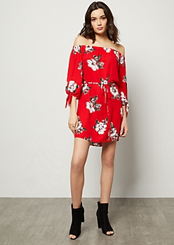 Red Floral Print Off The Shoulder Tie Sleeve Mini Dress