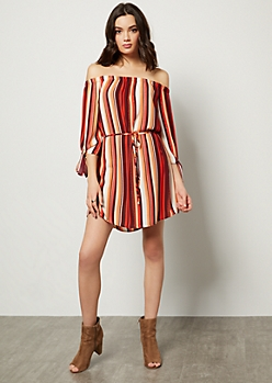 Burgundy Striped Off The Shoulder Tie Sleeve Mini Dress