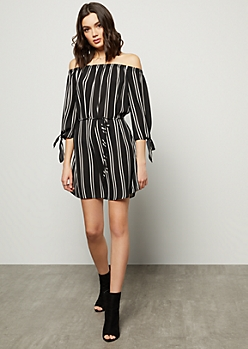 Black Striped Off The Shoulder Tie Sleeve Mini Dress