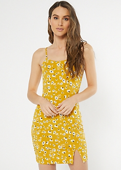 Mustard Daisy Print Cami Slip Dress