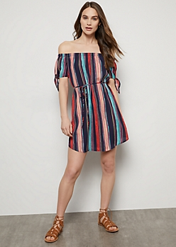Navy Striped Off The Shoulder Tie Sleeve Dress