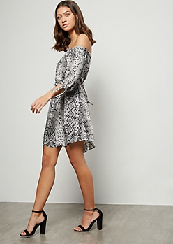 Snakeskin Off The Shoulder Tied Sleeve Mini Dress