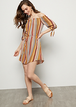 Orange Striped Off The Shoulder Tied Sleeve Mini Dress