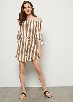 Tan Striped Off The Shoulder Tied Sleeve Mini Dress