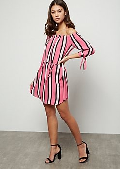 Pink Striped Off The Shoulder Tied Sleeve Mini Dress