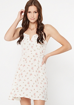 Ivory Floral Print Structured V Skater Dress