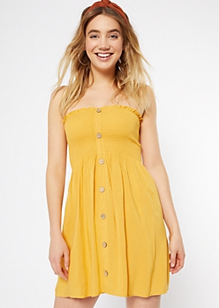3283d7604b09 Mustard Smocked Button Down Strapless Dress