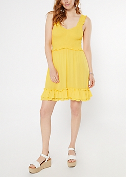 Yellow Ruffled Smocked Dress