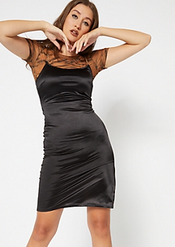 Black Satin Gold Chain Strap Slip Dress