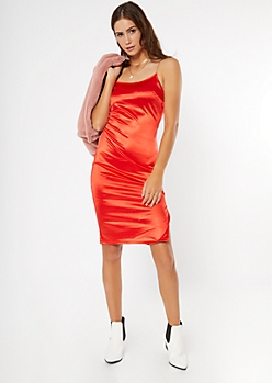Red Satin Gold Chain Strap Slip Dress