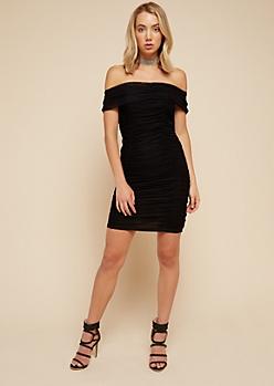 Black Allover Ruching Off The Shoulder Mini Dress
