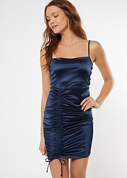 Navy Ruched Front Bodycon Slip Dress