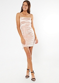 Light Pink Ruched Front Bodycon Slip Dress