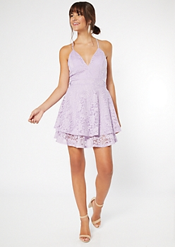 Purple Lace Open Back Skater Dress