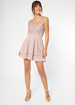 Pink Lace Bodice Layered Skater Dress