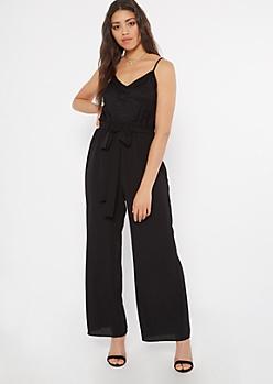 Black Lace Paperbag Waist Jumpsuit