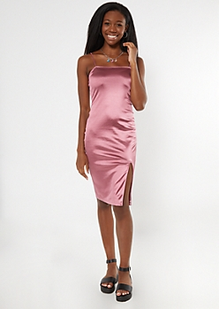 Pink Satin Thigh Slit Midi Slip Dress