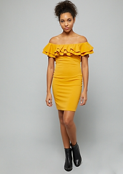 Mustard Ruffled Off The Shoulder Bodycon Mini Dress