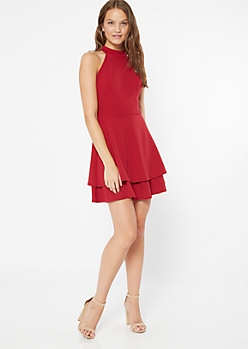 Red High Neck Caged Layered Skater Dress