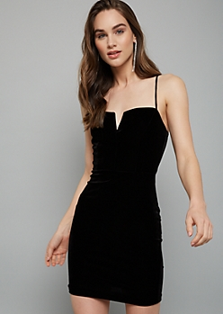 Black Velvet Structured V Neck Mini Dress