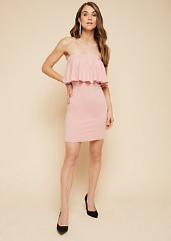 Light Pink Off The Shoulder Flounce Bodycon Dress