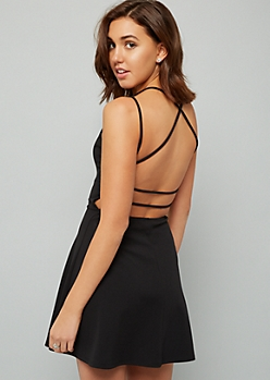 2419ab63da Black Strappy Open Back Skater Dress