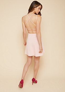 Light Pink Strappy Open Back Skater Dress