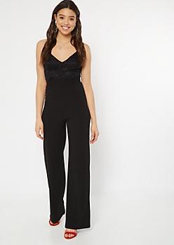 Black Floral Lace Open Back Wide Leg Jumpsuit
