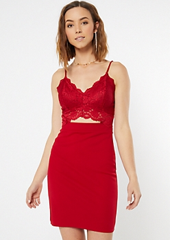 Red Lace Front Cutout Bodycon Dress
