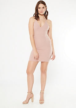 Pink Lace Racerback Sleeveless Bodycon Dress