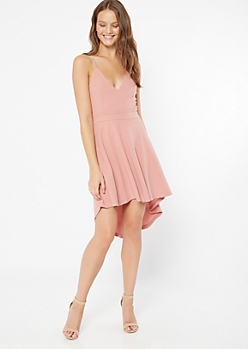 Pink Lace High Low Skater Dress