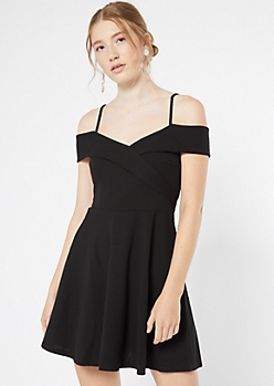 Black Cold Shoulder Wrap Skater Dress