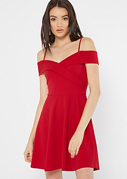 Red Cold Shoulder Wrap Skater Dress