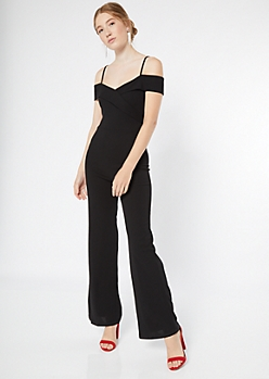 Black Cold Shoulder Wrap Jumpsuit