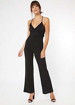 Black Lace Open Back Wide Leg Jumpsuit