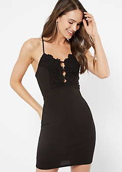 Black Crochet Caged Sleeveless Bodycon Dress