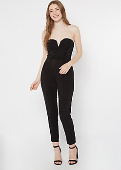 Black Shimmer Wire V Neck Jumpsuit