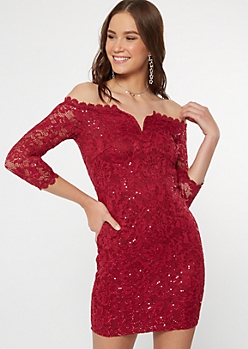 Red Off The Shoulder Lace Sequin Bodycon Dress